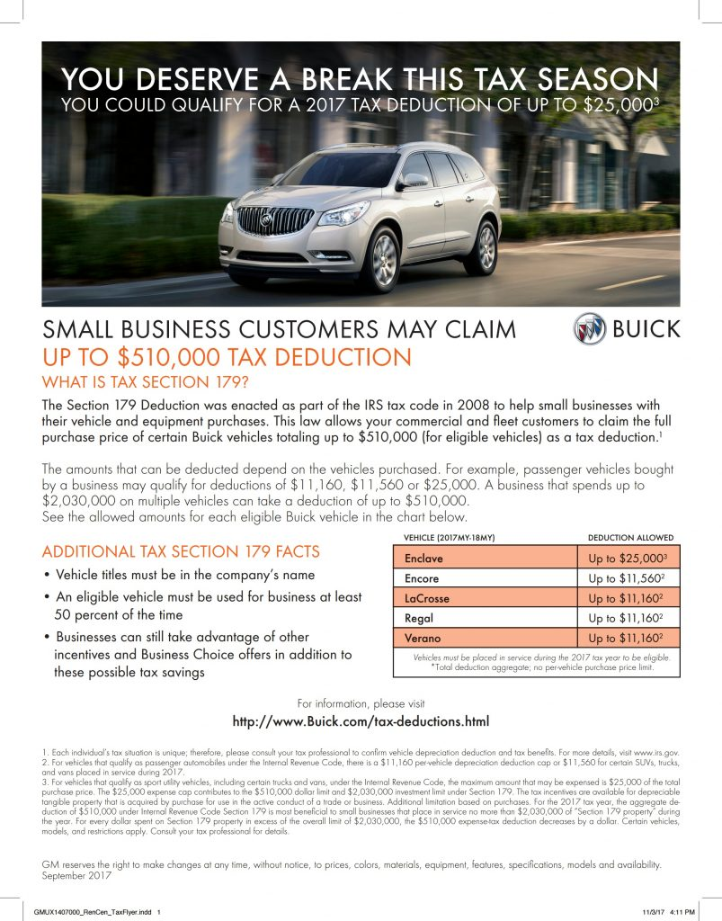 Buick Tax Deduction Flyer