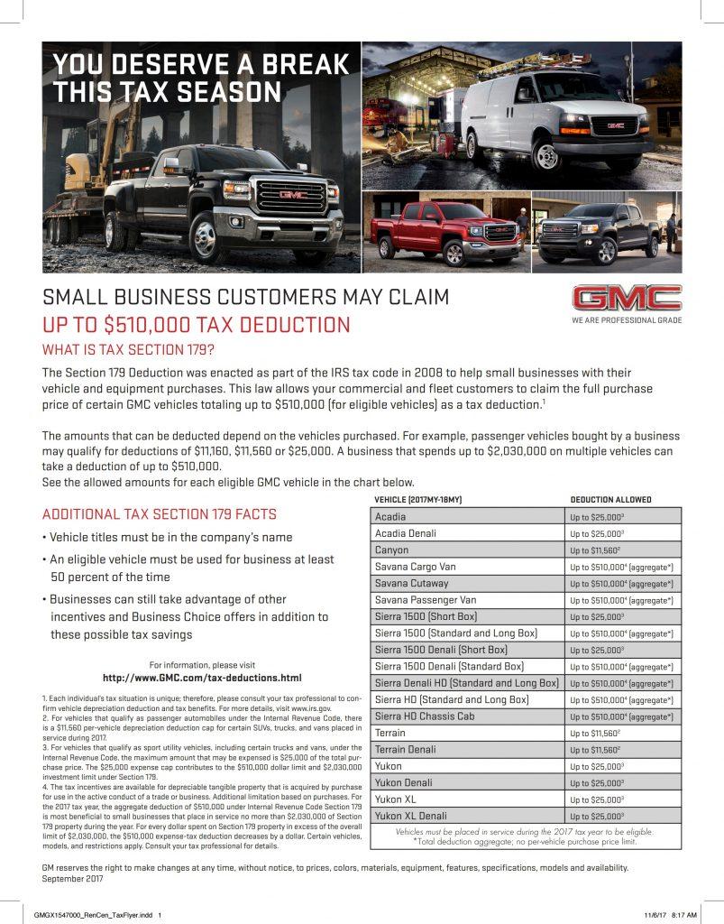 Gmc Tax Deduction Flyer
